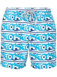 Capricode Floral Print Swim Shorts Men Nylon L White