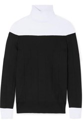 Givenchy Two Tone Ribbed Stretch Knit Turtleneck Sweater Black