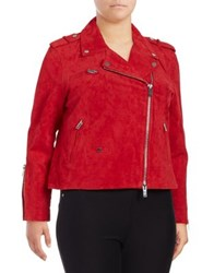 7a4f18d3a20 Rebel Wilson X Angels Plus Rebe s Suede Moto Jacket Red Haute