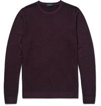 Incotex Waffle Knit Wool Sweater Burgundy