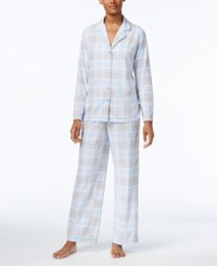 Charter Club Printed Fleece Pajama Set Only At Macy's Light Blue Plaid