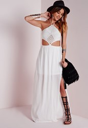 Missguided Crochet Halter Neck Cut Out Maxi Dress White