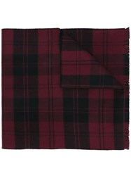 Valentino Check Scarf Men Virgin Wool One Size Red
