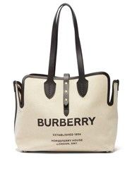 Burberry Logo Print Leather Trimmed Canvas Tote Bag White Multi