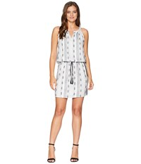 Dylan By True Grit Sedona Sleeveless Dress With Tie White Black