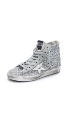 Golden Goose Francy High Top Sneakers Silver Glitter