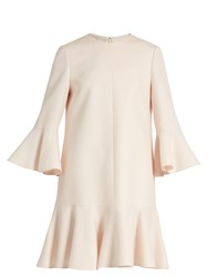 Valentino Fluted Sleeve And Hem Wool And Silk Blend Dress Ivory
