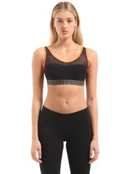 Versace Medusa Elastic And Mesh Sports Bra Black Orange