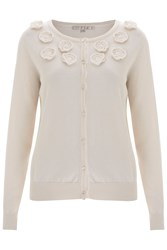 Nougat London Orchid Embroidered Cardigan Cream