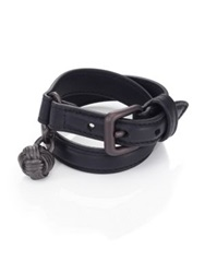 Bottega Veneta Leather Intrecciato Buckle Double Row Wrap Bracelet Navy