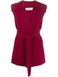 Victoria Beckham Sleeveless Belted Cardigan Red