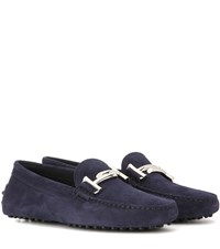 Tod's Gommini Double T Suede Loafers Blue