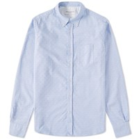 Officine Generale Jacquard Dot Oxford Shirt Blue