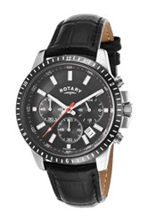 Rotary Men's Genuine Leather Strap Quartz Watch Black