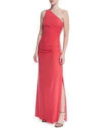 Laundry By Shelli Segal One Shoulder Beaded Gown W Side Ruching Vintage Coral