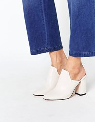 Daisy Street Heeled Mules Cream White