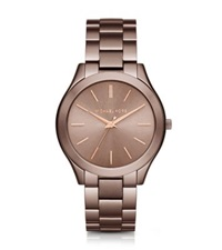 Michael Kors Slim Runway Sable And Rose Gold Tone Watch