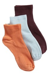 Treasure And Bond 3 Pack Favorite Ankle Socks Rust Leaf Multi