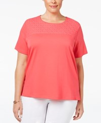 Alfred Dunner Plus Size Lace Yoke T Shirt Coral