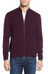 Zachary Prell Men's Zip Front Merino Cardigan Burgundy
