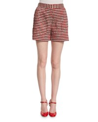 Giorgio Armani Gingham Plisse Side Zip Shorts Red Navy