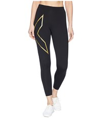 2Xu Elite Mcs Thermal Compression Tights Black Gold Workout