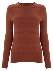 Warehouse Stitch Texture Crew Jumper Dark Red