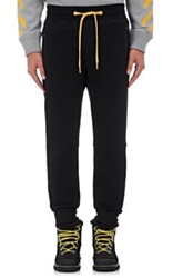 Moncler O Men's Cuff Detail Cotton Fleece Sweatpants Black