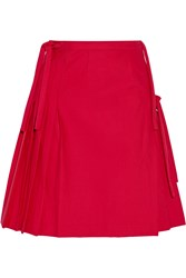 Title A Pleated Wrap Effect Stretch Cotton Skirt Red