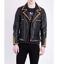 Replay Gold Trim Leather Biker Jacket Black