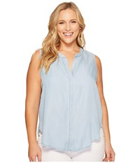 B Collection By Bobeau Curvy Plus Size Fiona Button Back Shirt Chambray Blue Women's Sleeveless