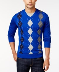 Club Room Big And Tall Argyle Sweater Only At Macy's Cargo Blue