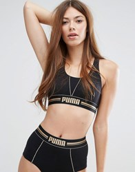 Puma Gold Logo Cross Back Bra Black