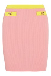 Boutique Moschino Two Tone Ribbed Cotton Mini Skirt Pink