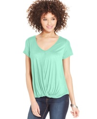 One Clothing Juniors' Drape Front Top