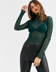 Y.A.S High Neck Long Sleeve Lace Top Green