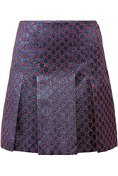 Gucci Pleated Metallic Jacquard Mini Skirt Blue