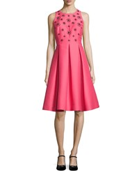 Kate Spade Pleated Beaded Taffeta Cocktail Dress Pink Pink Pattern