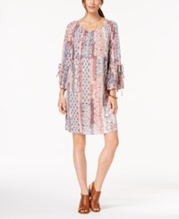Styleandco. Style Co Printed Bell Sleeve Peasant Dress Brulee Cornerstone