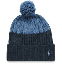 Polo Ralph Lauren Color Block Knitted Bobble Hat Navy