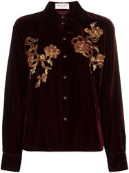 Saint Laurent Embellished Velvet Shirt Red