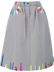 Mira Mikati Embroidered Checked A Line Skirt Black