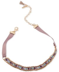 Lonna And Lilly Gold Tone Beaded Ribbon Choker Necklace Multi