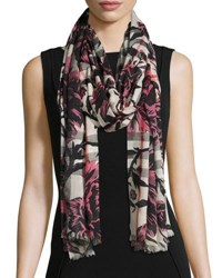 Burberry Check And Floral Gauze Scarf Rose