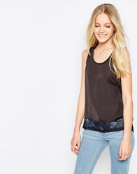 Vila Mella Lace Trim Sleeveless Top In Phantom Mella Lace Trim Black