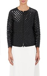 Armani Women's Studded Leather Cutout Jacket Black Navy Black Navy