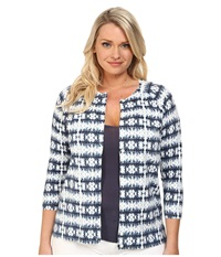 Pendleton Plus Size Boardwalk Print Cardigan Indigo Batik Knit Print Women's Sweater Blue