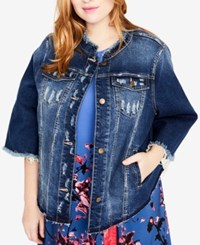 Rachel Roy Trendy Plus Size Bell Sleeve Ripped Denim Jacket Felicity Wash