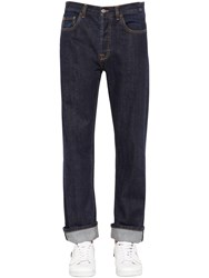 Valentino Baggy And Cropped Cotton Denim Jeans Med Navy