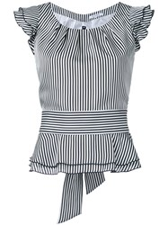 Guild Prime Striped Frilled Cap Sleeve Blouse Women Polyester 36 White